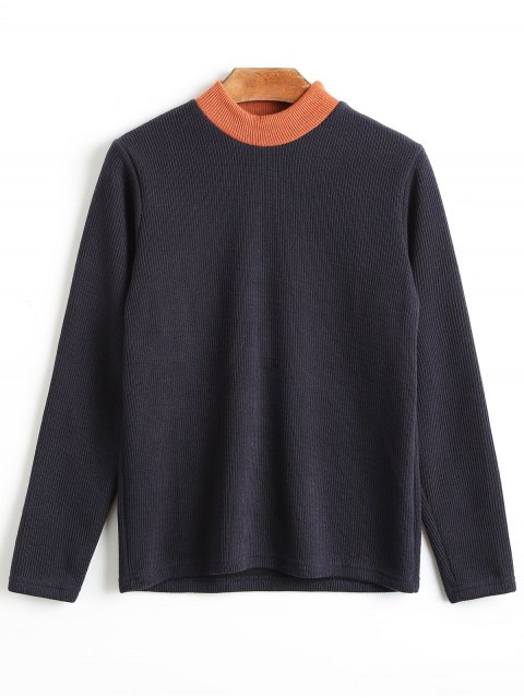 lady Mock Neck Plain Knitwear - PURPLISH BLUE ONE SIZE Mobile