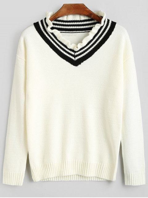 chic College Style Ruffle Collar Knitwear - CRYSTAL CREAM S Mobile