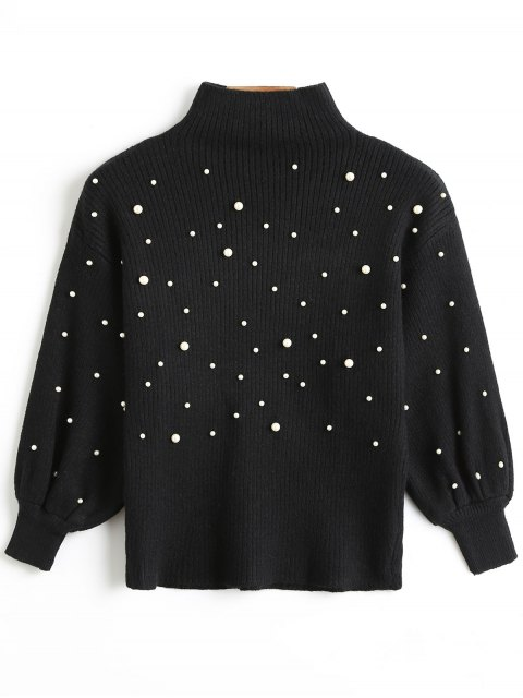 sale Faux Pearl High Collar Puff Sleeve Sweater - BLACK ONE SIZE Mobile