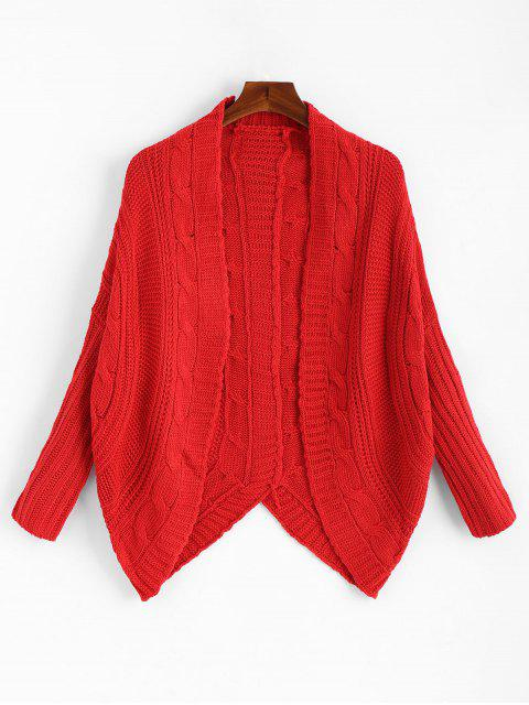 trendy Dolman Sleeve Asymmetric Cable Knit Cardigan - RED ONE SIZE Mobile