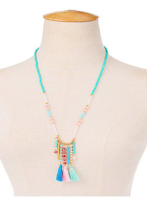 buy Faux Crystal Beaded Tassel Charm Necklace -   Mobile