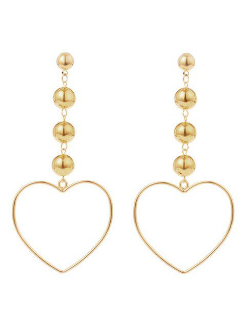 hot Hollow Out Heart Shape Drop Earrings - GOLDEN  Mobile