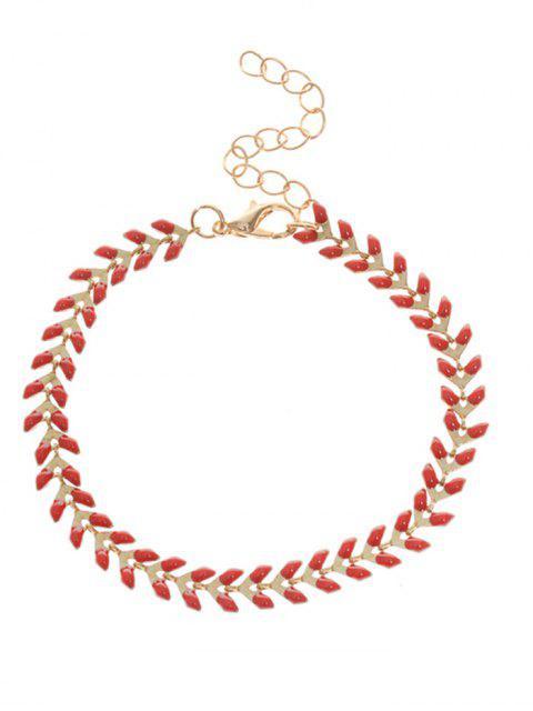 chic Metal Leaf Chain Bracelet - RED  Mobile