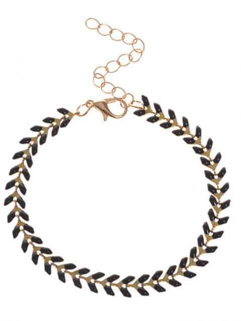 Bracelet à mailles en feuille - Noir  Mobile