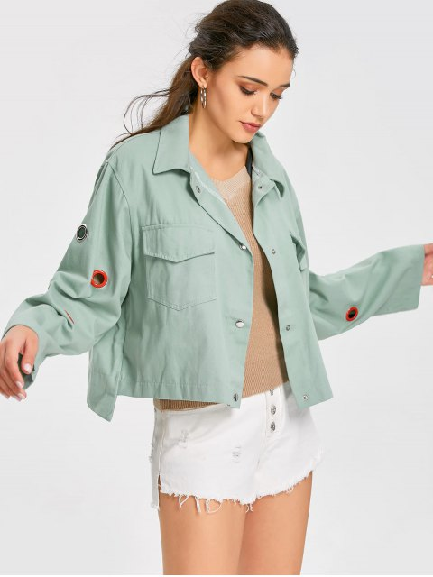 affordable Grommet Insert Button Up Shirt Jacket - LIGHT GREEN ONE SIZE Mobile