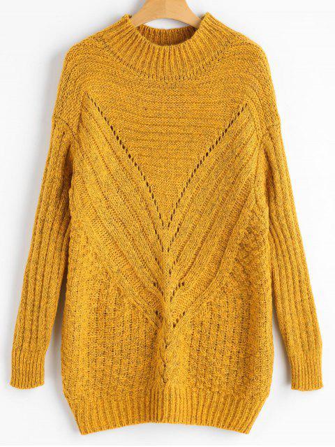 Höhler Chunky Pullover mit hohem Ausschnitt - Ingwer-Gelb Eine Größe Mobile