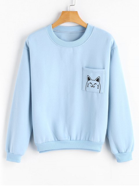 latest Loose Cute Cat Sweatshirt with Pocket - LIGHT BLUE ONE SIZE Mobile