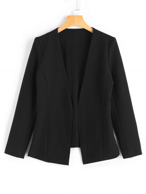 best Long Sleeve Open Front Blazer - BLACK L Mobile