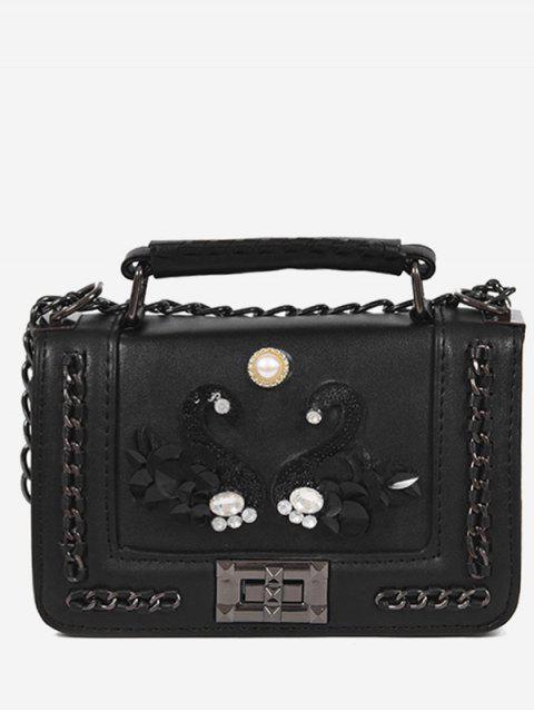Strass Schwan Faux Perle Handtasche - Schwarz  Mobile