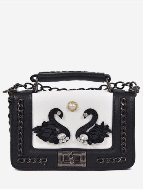 sale Rhinestone Swan Faux Pearl Handbag - WHITE  Mobile