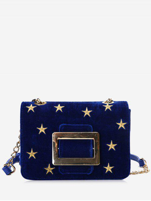 online Buckle Strap Stars Crossbody Bag - BLUE  Mobile