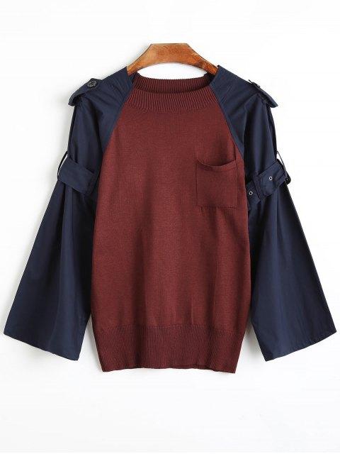 womens Panel Belted Raglan Sleeve Knitwear - BURGUNDY ONE SIZE Mobile