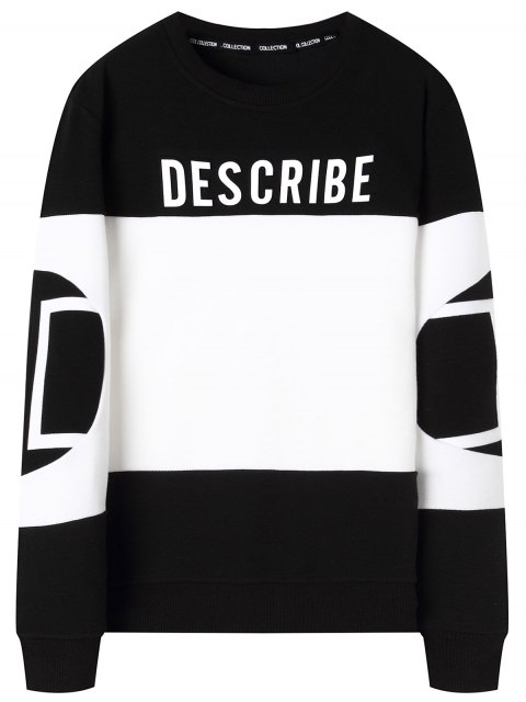 outfits Graphic Describe Color Block Sweatshirt - WHITE AND BLACK 4XL Mobile