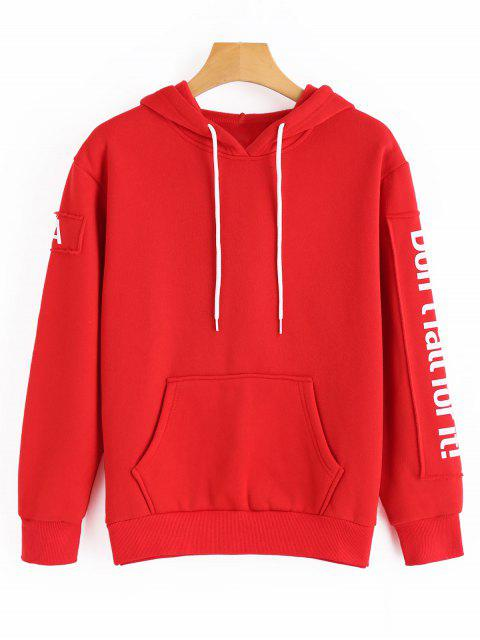 outfit Drawstring Contrast Letter Hoodie - RED ONE SIZE Mobile