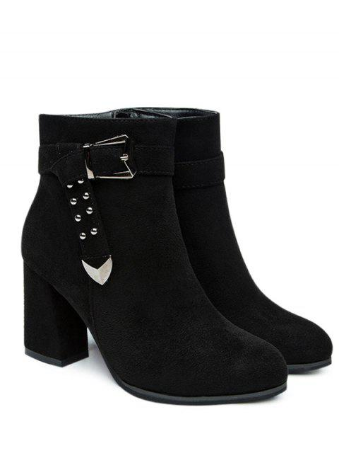 unique Buckled Strap Ankle Boots - BLACK 40 Mobile