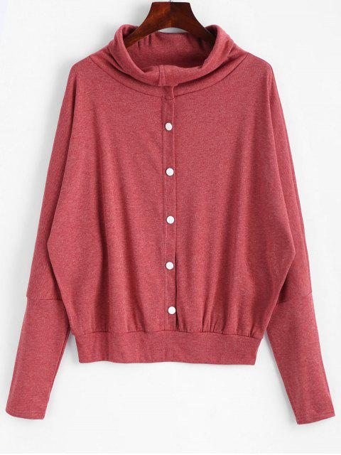 latest Button Embellished Dolman Sleeve Knitted Top - BRICK-RED M Mobile