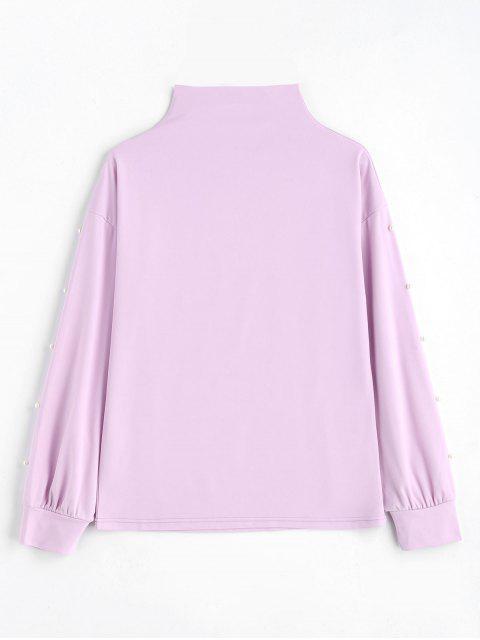 Sweat-shirt Perlé à Col Montant - Violet Clair S Mobile