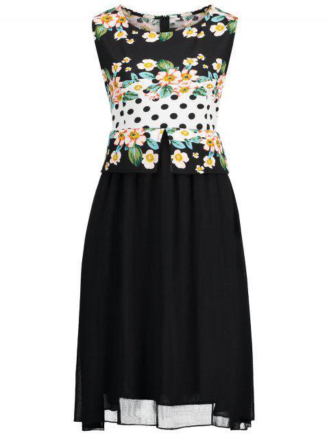 shops Plus Size Polka Dot Floral Print Dress - BLACK 4XL Mobile