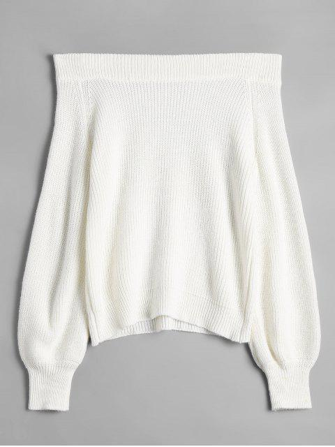 shop Off The Shoulder Lantern Sleeve Pullover Sweater - WHITE ONE SIZE(FIT SIZE XS TO M) Mobile