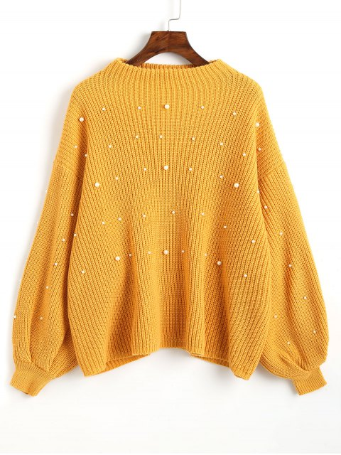unique Lantern Sleeve Oversized Faux Pearls Sweater - MUSTARD ONE SIZE Mobile