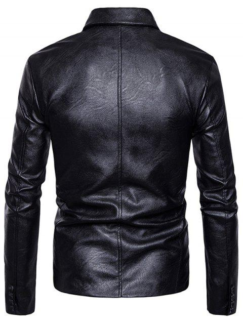 outfits Zip Up Asymmetric PU Leather Biker Jacket - BLACK S Mobile