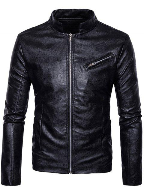 affordable Stand Collar Zipper Design Faux Leather Jacket - BLACK XL Mobile