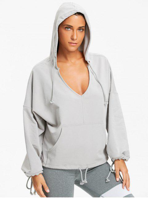 trendy Kangaroo Pocket Low Cut Hoodie - GRAY S Mobile
