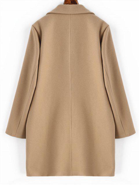 fashion Longline Flap Pockets Wool Blend Coat - CAMEL L Mobile