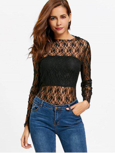 Blusa de encaje floral transparente - Negro XL Mobile