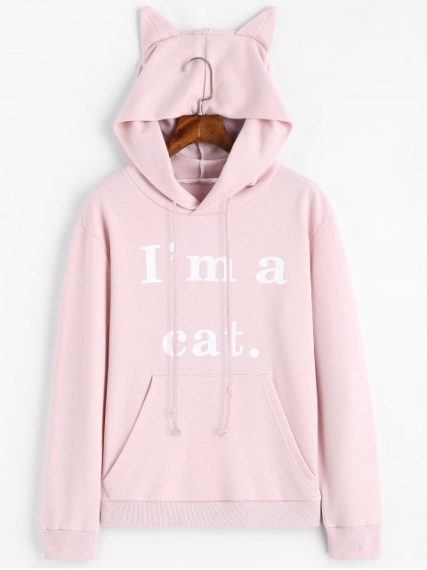 sale Front Pocket Letter Graphic Cat Hoodie - SHALLOW PINK XS Mobile