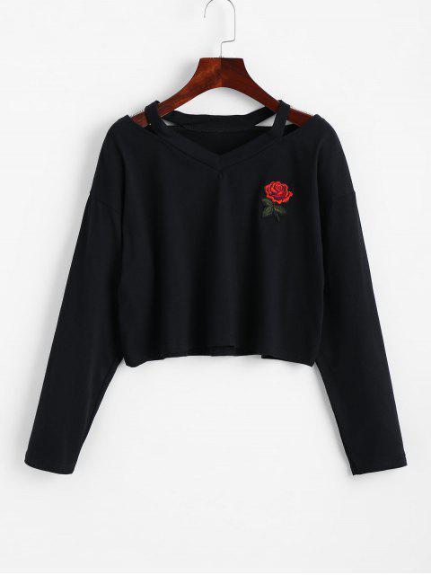 Kalte Schulter Rose Besticktes Geflicktes Sweatshirt - Schwarz XL  Mobile
