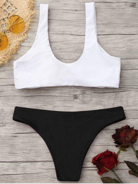 ladies Padded Knotted Bralette Bikini Set - WHITE AND BLACK S Mobile