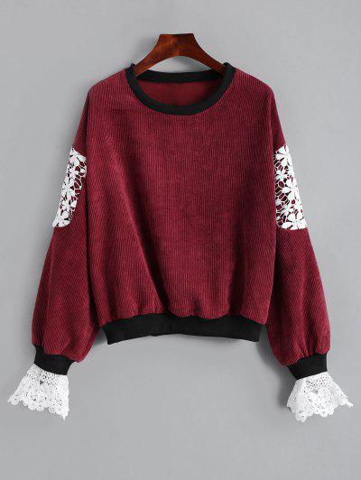 Crew Neck Lace Panel Sweatshirt - Deep Red