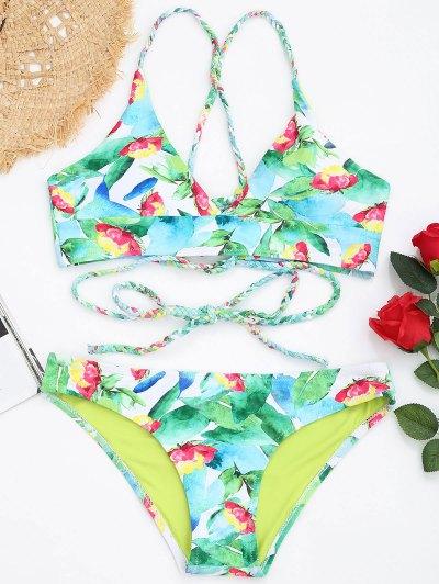 Zaful Braided Lace-up Leaf Print Bikini Set