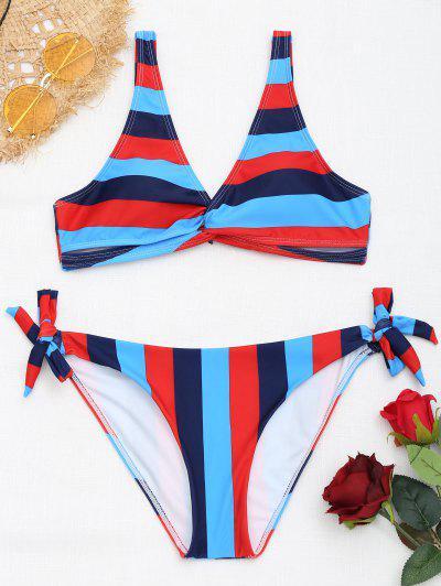 Zaful Tie Side Twist Front Striped Bikini