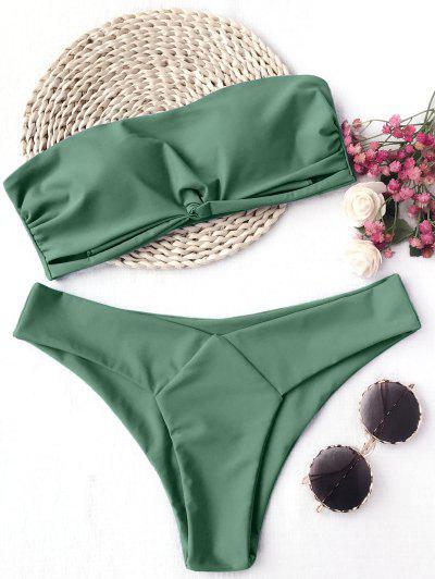 Knot Padded Bandeau Bikini Set - Green S