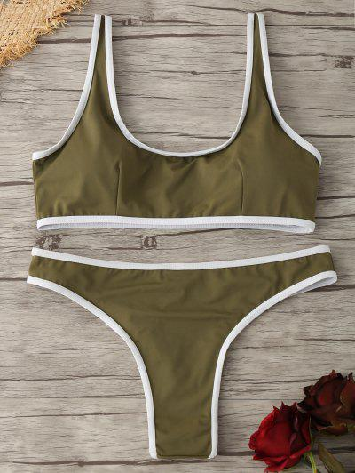Contrast Piping Padded Bralette Bikini Set - Olive Green M