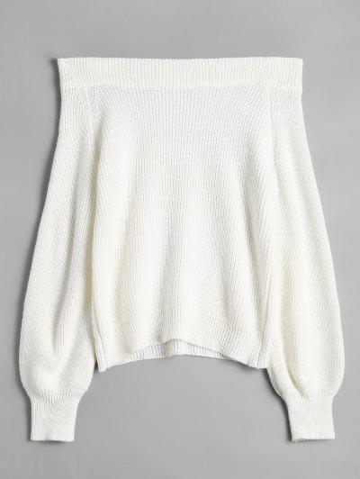 Off The Shoulder Lantern Sleeve Pullover Sweater - White