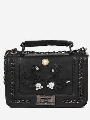 Rhinestone Swan Faux Pearl Handbag