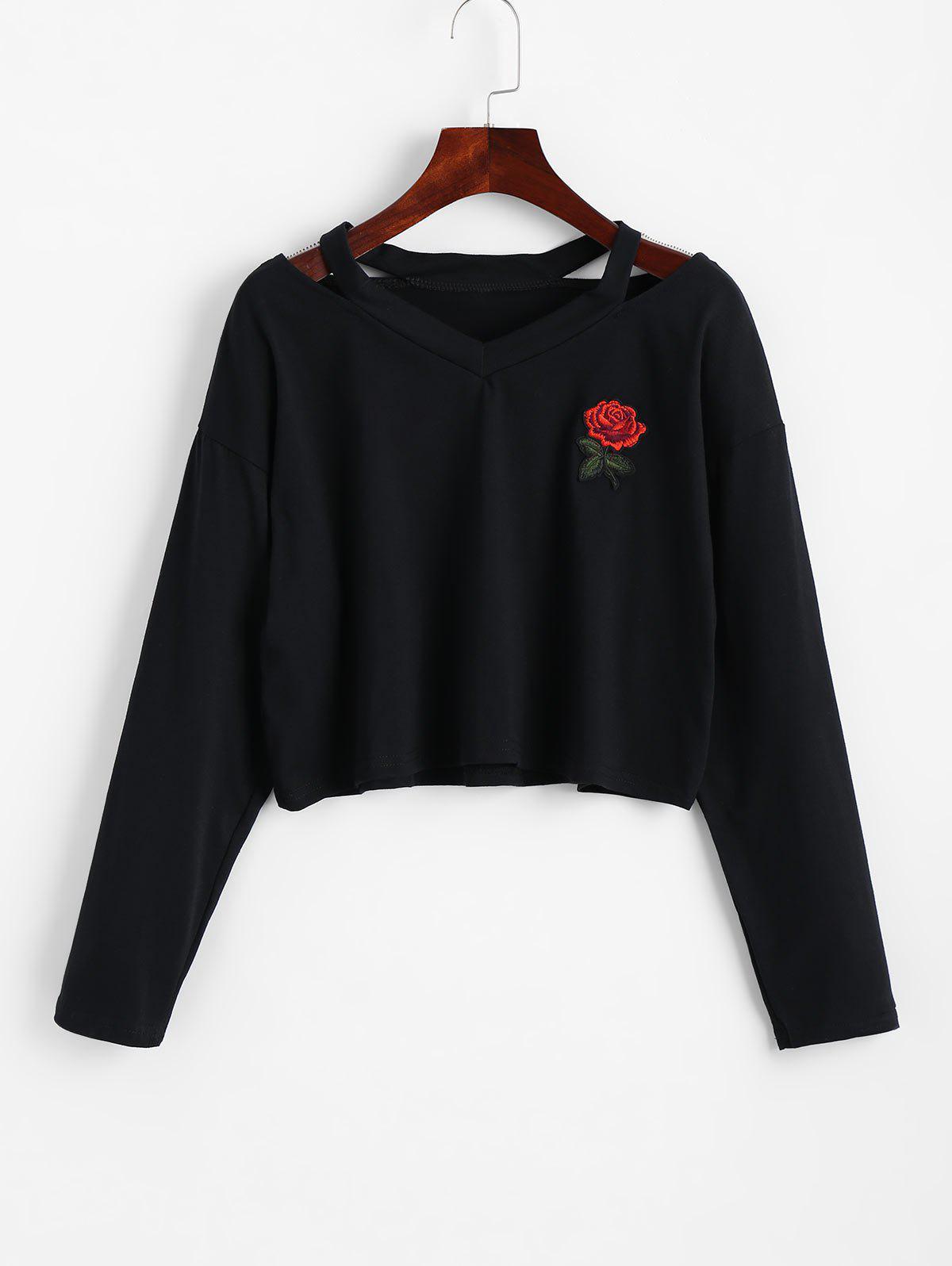 Cold Shoulder Rose Emb
