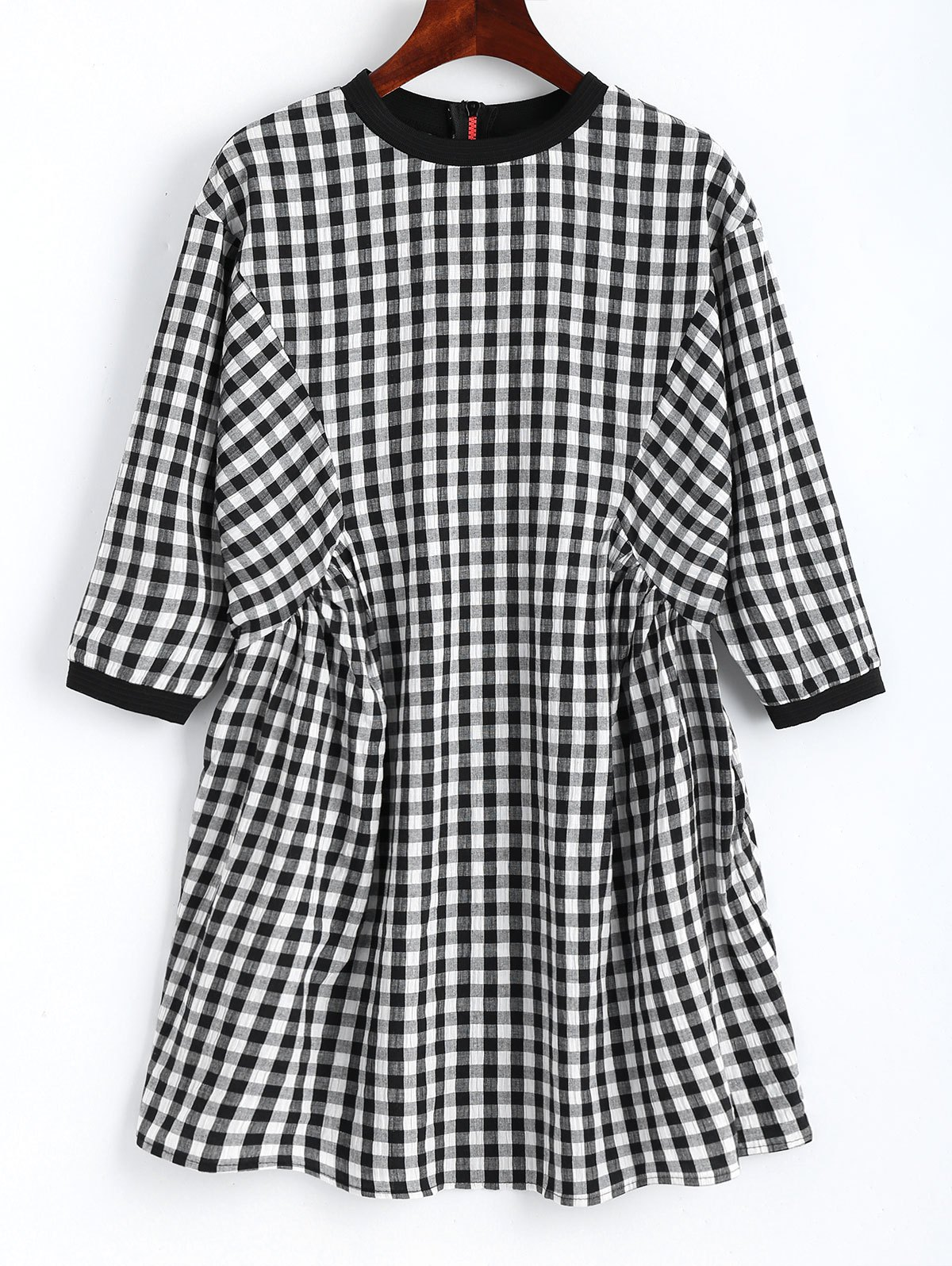 Back Zip Checked Shift Mini Dress 234917201