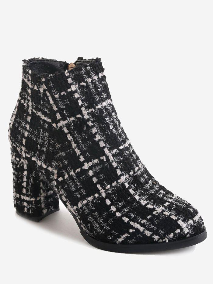 Block Heel Side Zipper Ankle Boots 233872004