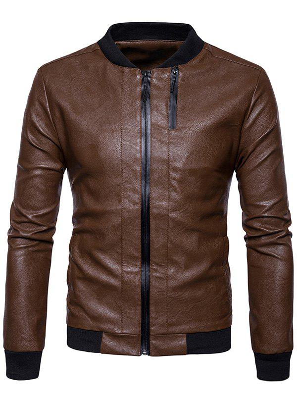 Rib Panel Double Zip Up PU Leather Jacket 234818507