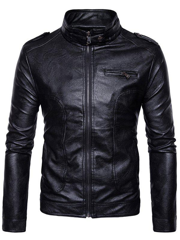 Stand Collar Epaulet Faux Leather Zip Up Jacket 234843407