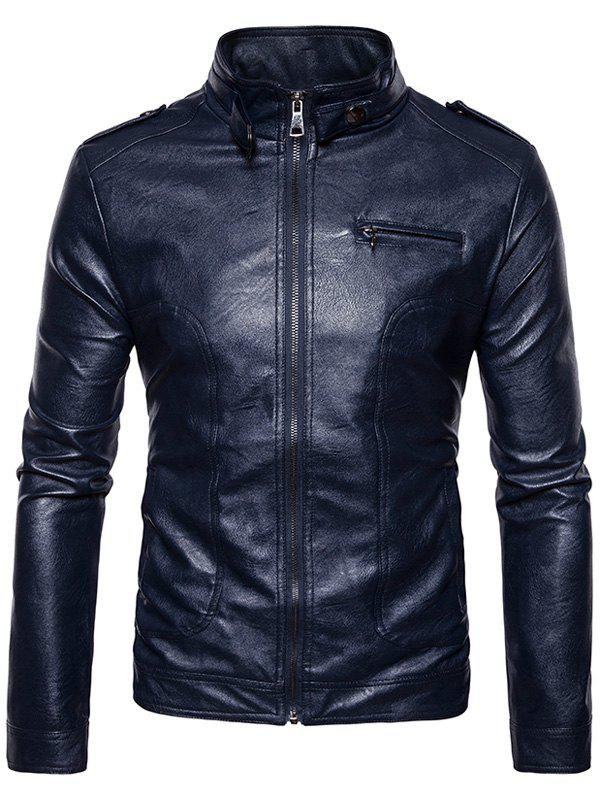 Stand Collar Epaulet Faux Leather Zip Up Jacket 234843409