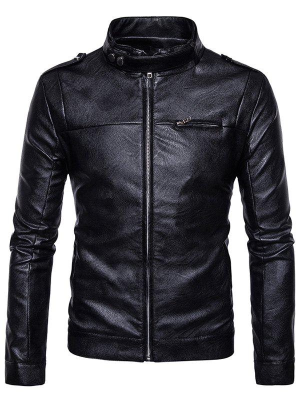 Stand Collar Epaulet Zip Up Faux Leather Jacket 234816605