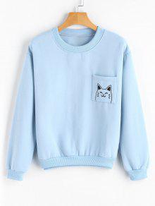 Loose Cute Cat Sweatshirt with Pocket