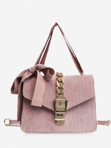 حقيبة كروسبودي مزينة بفيونكة ومشبك مع سلسلة - زهري