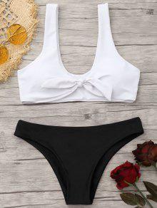 Conjunto De Bikini De Bralette Anudado Y Acolchado - Blanco Y Negro S
