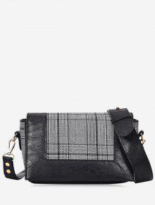 حقيبة كروسبودي مزينة بقماش مربع النقش  - أسود